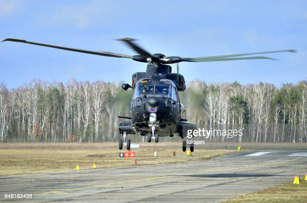 front view of aw101 during demonstration for polish army - helicopter rotors stock photos and pictures