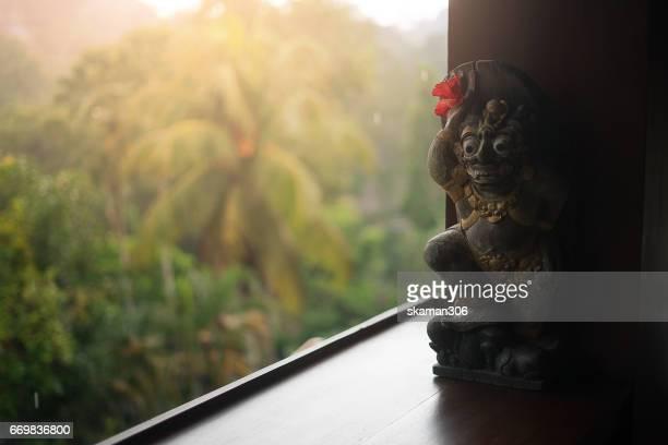 front view of Barong head for souvenir at Sukhawati market Ubud area Bali