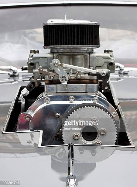 front view of chrome supercharger car engine hot rod - silver belt stock pictures, royalty-free photos & images