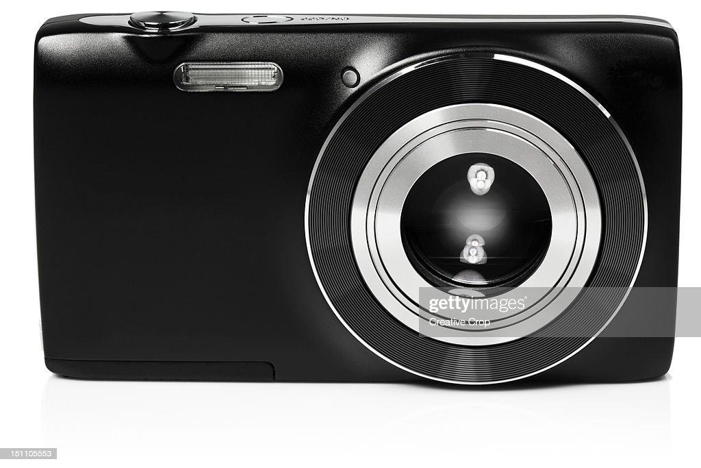 Front view of digital compact camera : Bildbanksbilder