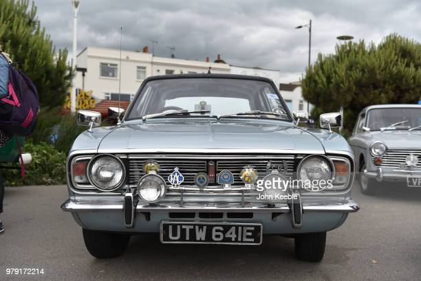 A front view of Ford Cortina MK 2 radiator with an old chrome AA and RAC badges on display during the Southend Classic Car Show along the seafront on...