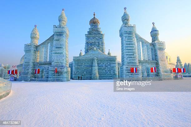 front view of harbin ice and snow wonderland - harbin winter stock pictures, royalty-free photos & images