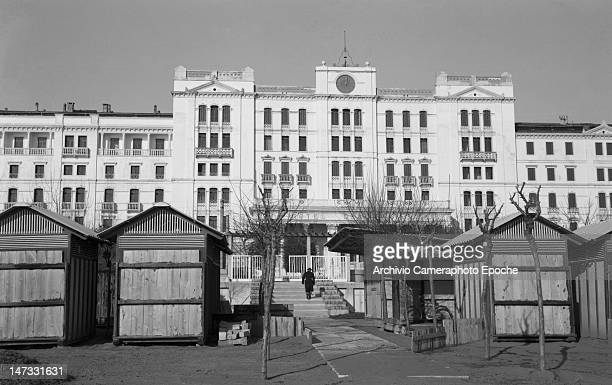 Front view of 'Hotel des Bains' in winter Lido Venice 1951
