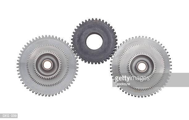 Front view of interlocking gear wheels