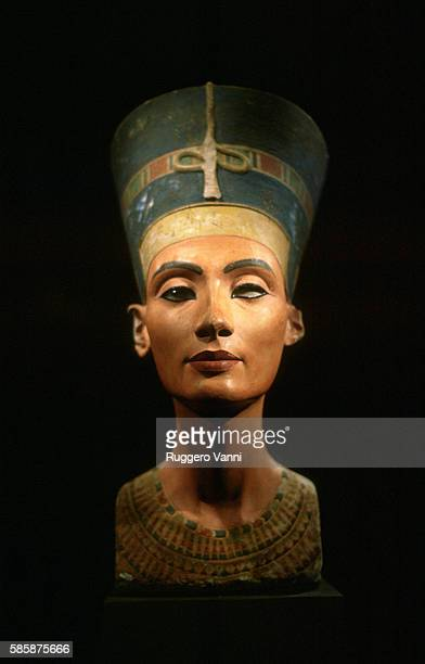 Front View of Limestone Bust of Queen Nefertiti