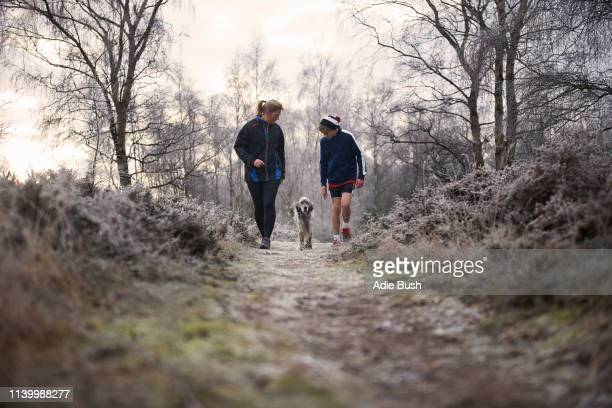 front view of mother and son walking with dog looking down - winter stock pictures, royalty-free photos & images