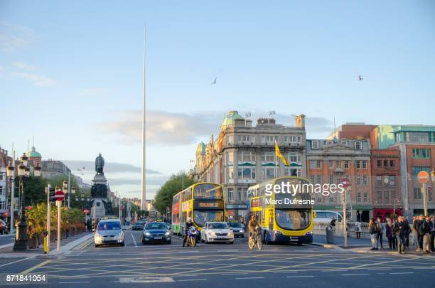 Front view of O'Connell street in Dublin Ireland during day of autumn