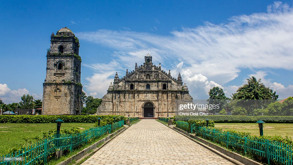 Front view of Paoay Church : Stock Photo
