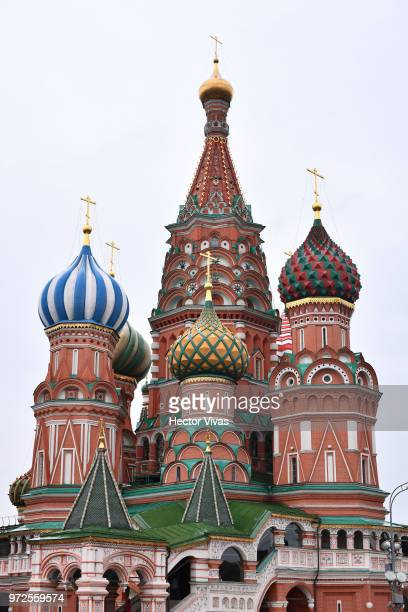 Front view of St Basil's Cathedral in Red Square ahead of the 2018 FIFA World Cup on June 10 2018 in Moscow Russia