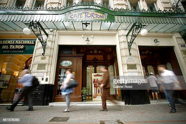 Front view of the Cafe Tortoni on December 18 2014 in Buenos Aires Argentina Cafe Tortoni was founded in 1858 by Jean Touan a French inmigrant that...