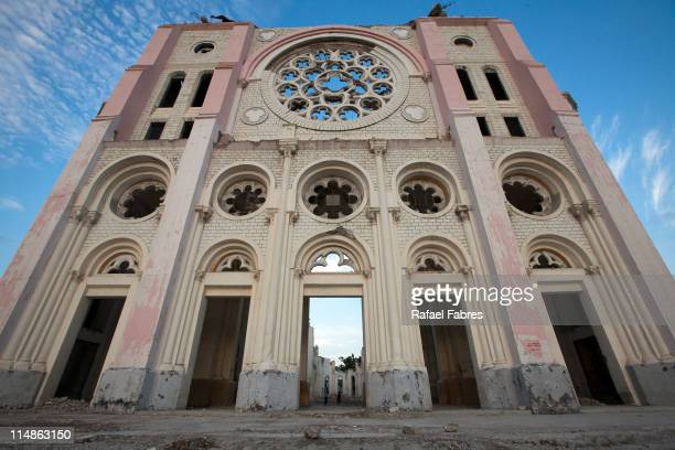Front view of the cathedral of Port Au Prince one year after the earthquake on May 26 2011 in Port Au Prince Haiti President Michel Martelly ordered...