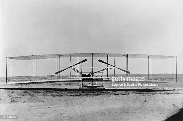 Front view of the 'Flyer' on its launch rail at Kitty Hawk in North Carolina Orville Wright and his brother Wilbur were selftaught American aeroplane...