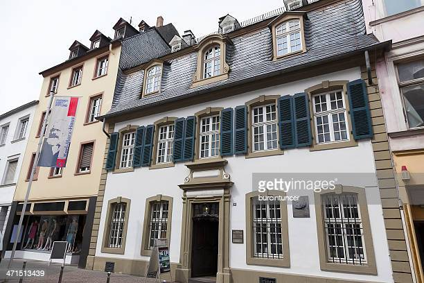 front view of the karl marx house museum in trier - karl marx stock photos and pictures