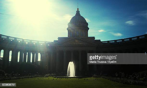 front view of the kazan cathedral with fountain - trusova ストックフォトと画像