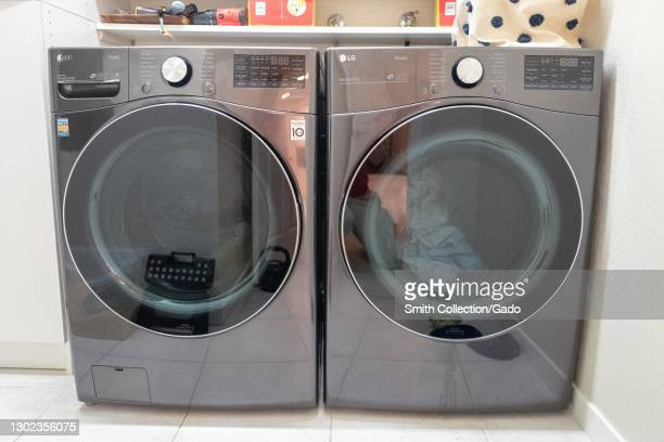 Front view of the LG Smart front load Washer and electric Dryer in black steel finish in Lafayette, California, January 15, 2021.