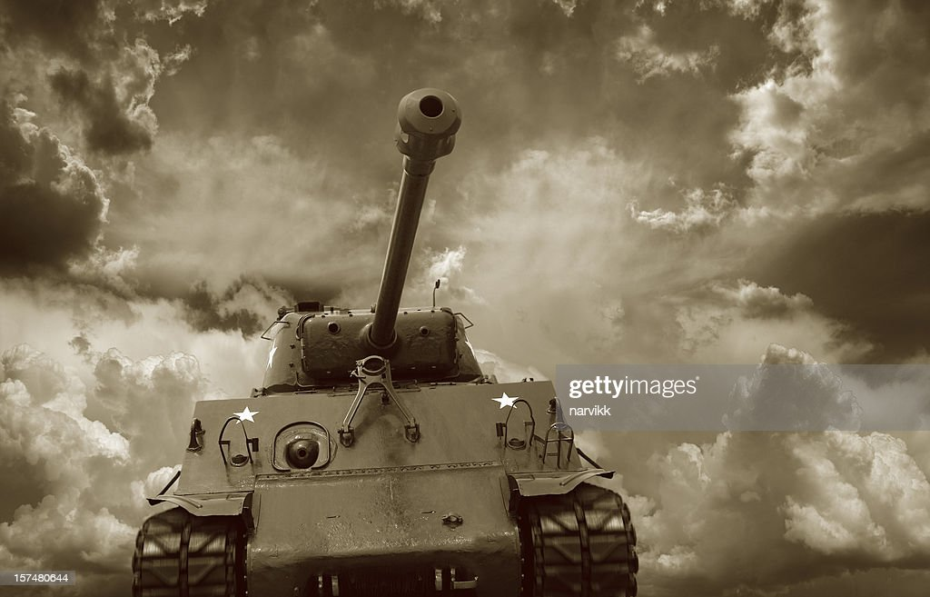 Front view of the M4 Sherman Tank : Stock Photo