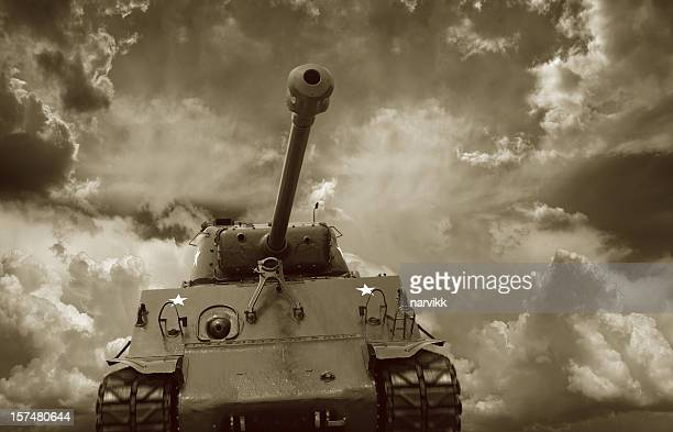 front view of the m4 sherman tank - armored tank stock photos and pictures