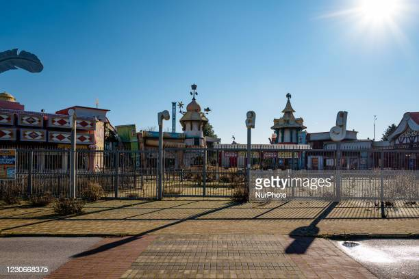 Front view of the Miragica amusement park in a state of abandonment after the bankruptcy, in Molfetta, Italy on 19 January 2021. Miragica, the...