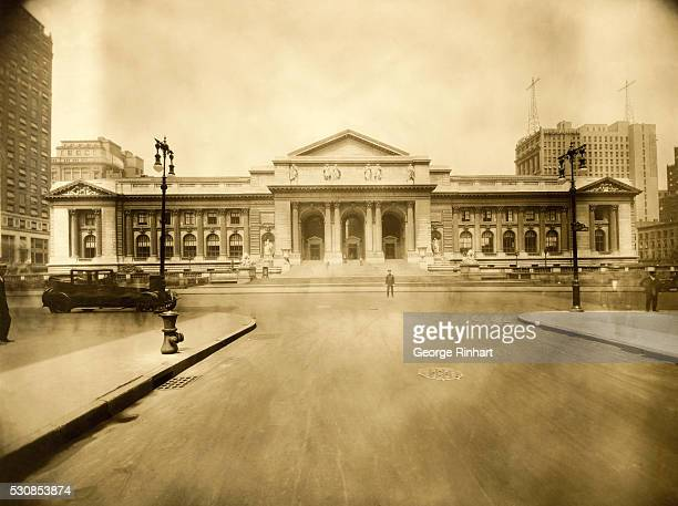 Front view of the New York Public Library 42nd street and Fifth avenue circa 1900