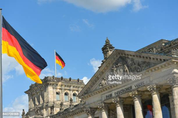 A front view of the Reichstag building the seat of the German Parliament On Tuesday August 29 in Berlin Germany