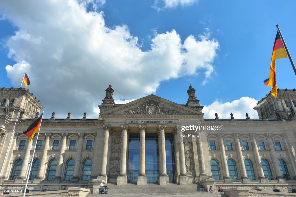 A front view of the Reichstag building, the seat of the German Parliament. On Tuesday, August 29, 2017, in Berlin, Germany.