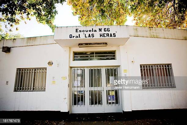 Front view of the school General Las Heras where Messi attended Elementary School on April 27 2010 in Rosario Argentina Lionel Messi son of a factory...