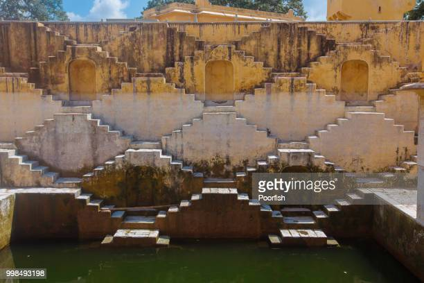 front view of the stepwell - stepwell india stock photos and pictures