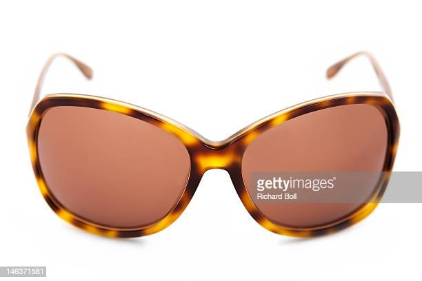 Front view of tortoise-shell style sunglasses