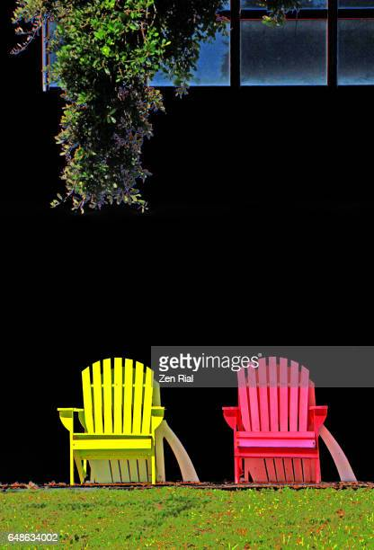 Front view of two Adirondack pink and yellow colored chairs and tree branch on black background