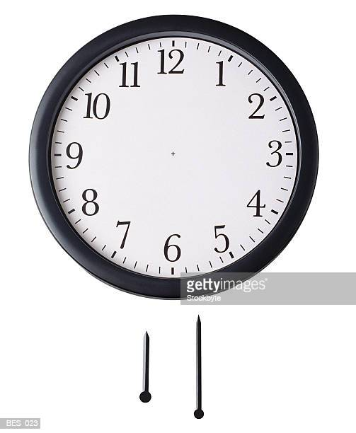 Front view of wall clock with hour hand and minute hand underneath