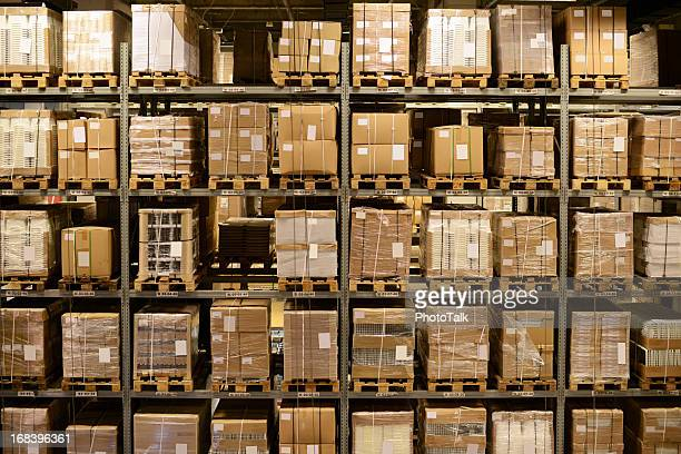 front view of warehouse and cargo shelf - xxxxxlarge - neat stock pictures, royalty-free photos & images