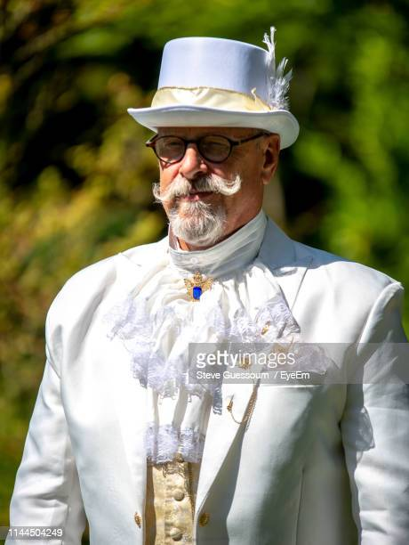 front view of well-dressed senior man standing outdoors - steve guessoum stockfoto's en -beelden