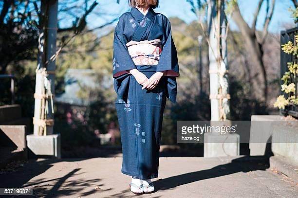 Front view of woman in kimono