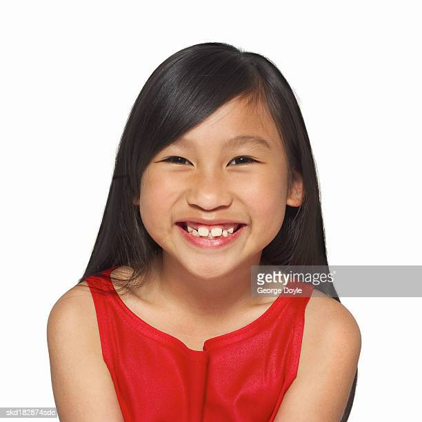 front view portrait of a girl (10-11) smiling