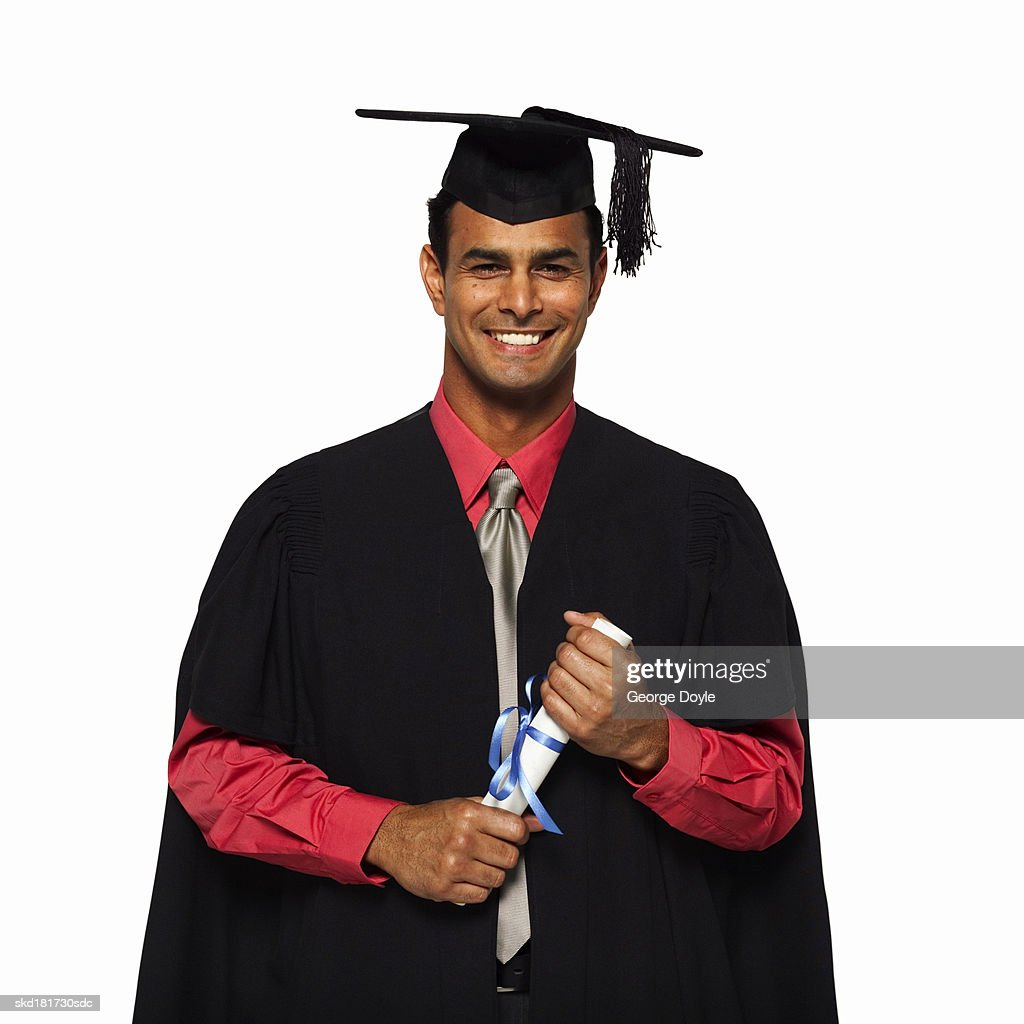 Front View Portrait Of A Man Wearing Cap And Gown With Certificate