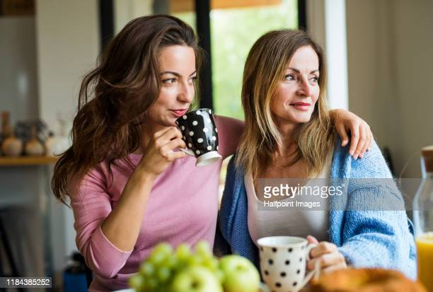 front view portrait of mature mother with adult daughter sitting at home, talking. - arm in arm stock pictures, royalty-free photos & images
