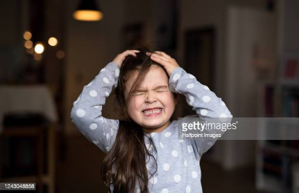front view portrait of small girl standing indoors at home, gritting teeth. - anger stock pictures, royalty-free photos & images