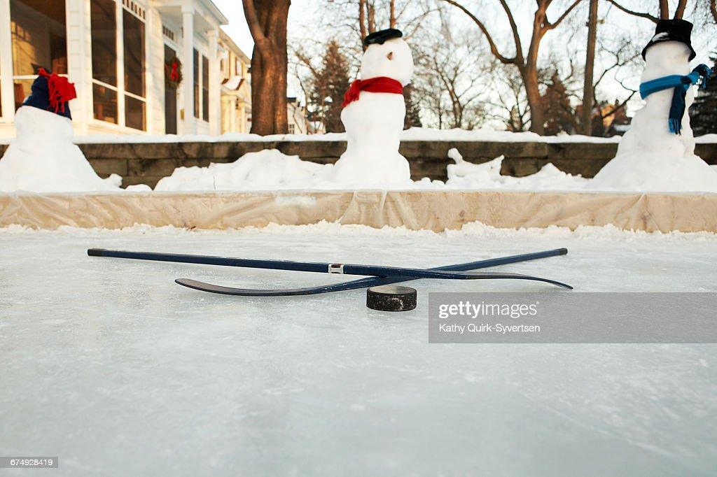 front yard home hockey rink Minneapolis, Minnesota : ストックフォト