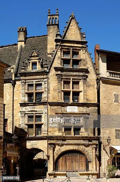 Frontage of the 'Maison de la Boetie' in Sarlat La Caneda in the Perigord Noir region in Dordogne