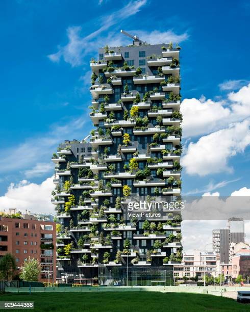 Frontal elevation with city context Vertical Forest Milan Italy Architect Stefano Boeri Architetti 2014