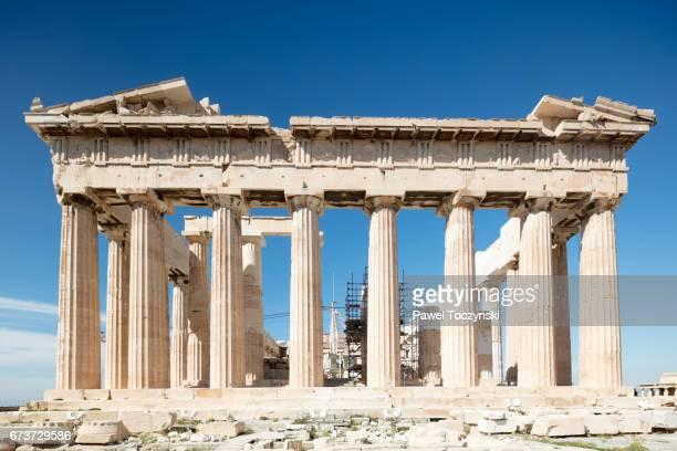 Frontal portico of the Parthenon on Acropolis Hill, Athens