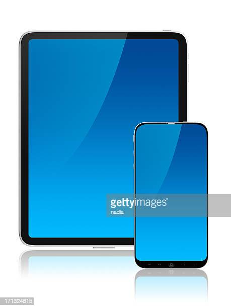 frontal screens of tablet and mobile - android stock pictures, royalty-free photos & images