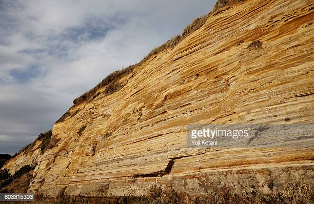 Frontal view of horizontal strata in Japan