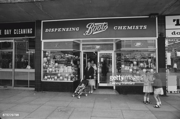 Frontal view of pharmacy chain store Boots UK 16th September 1977