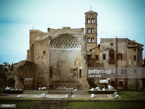 frontal view of temple of venus and roma, italy - venus roman goddess stock pictures, royalty-free photos & images