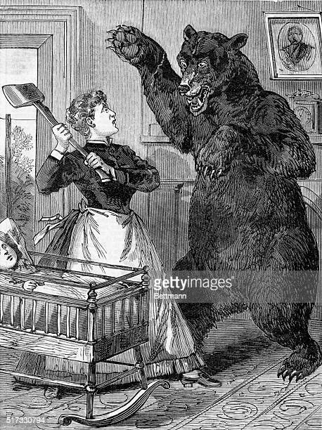 Frontier woman in a lonely district gets after a giant grizzly bear with an axe Undated woodcut BPA2# 3728