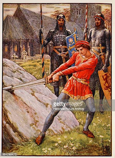 Frontispiece book illustration by Walter Crane from King Arthur's Knights by Henry Gilbert Color lithograph 1911 Located in a private collection