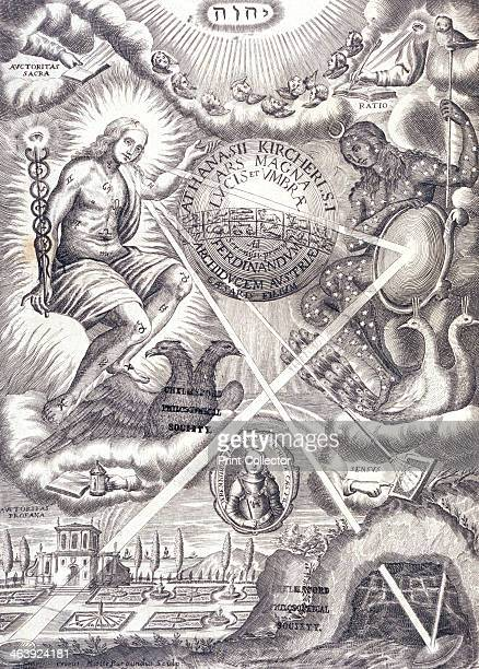 Frontispiece from Athanasius Kircher's Ars Magna Lucis Et Umbrae To the left is a woman as the personification of the sun with the symbols of the...