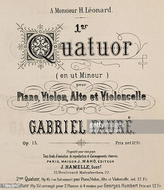 Frontispiece of a Quartet for piano violin viola and cello by Gabriel Faure' Bologna Civico Museo Bibliografico Musicale