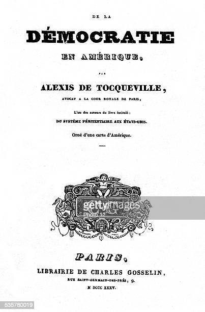 Frontispiece of the book 'De la démocratie en Amérique' by Alexis de Tocqueville 19th century United States